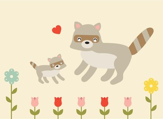mother and baby raccoon love and happiness soft pastel vector illustration