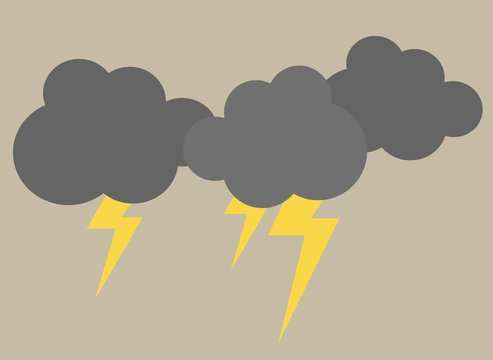 simple thunder clouds vector illustration