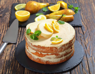 pear sponge cake with ingredients on table