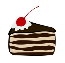 "Vector illustration, flat cartoon triangular slice of cake ""Black forest"" covered with chocolate glaze, whipped cream and confectionery cherry isolated on white background"