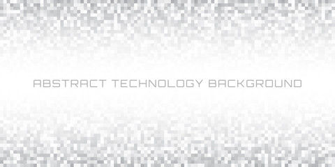 Abstract gray pixelated horizontal technology background. Business light pixel pattern background.  Vector pixel texture background illustration