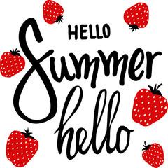 lettering hi summer on white background