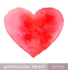 Red Watercolor Heart. Vector illustration.