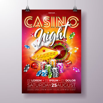 Vector Casino night flyer illustration with roulette wheel and shiny neon light lettering on red background. Luxury gambling invitation poster template design concept.
