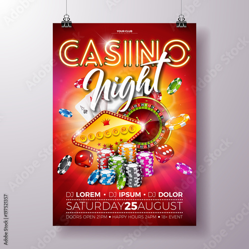 Vector Casino Night Flyer Illustration With Roulette Wheel And Shiny