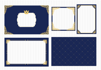 Set of vector picture frame. Dark navy blue with gold. Decorative corner. Coat of arms for little prince photo with crown. Royal design card. Invitation template for baby shower, birthday, wedding.