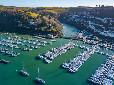 A photograph taken from the air looking at the river Dart from Dartmouth.