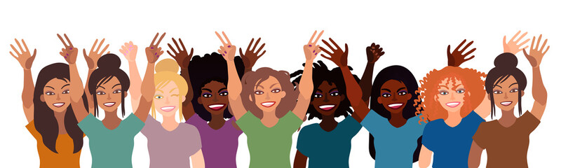 Group of happy smiling women of different race together holding hands up with piece sign, fist, open palm. Flat style illustration isolated on white. Feminism diversity tolerance girl power concept.