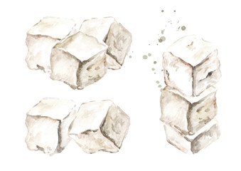 Cubes of greek feta cheese set. Watercolor hand drawn illustration, isolated on white background