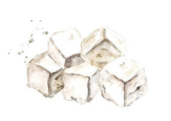 Cubes of greek feta cheese. Watercolor hand drawn illustration, isolated on white background