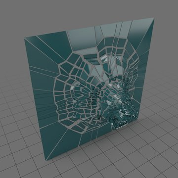 Lion head in shattered glass