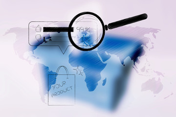 world map with shopping bag with Your Product text and survey results above it with magnifying glass analyzing it