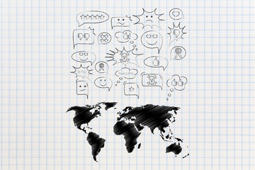 difference of opinions world map with speech bubbles with different reactions