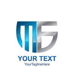 Initial letter MS , MB or MG logo template colored grey blue shield design for business and company identity