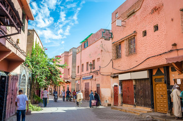 Beautiful street of old medina in Marrakesh, Morocco
