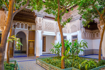 Garden of Marrakesh Bahia Palace in Marrakesh, Morocco.