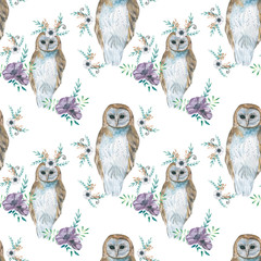 Owl pattern with flowers. Illustration of watercolor.