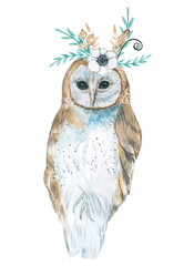 Owl with flowers. Illustration of watercolor.