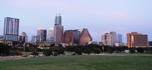 Butler Metro Park Grounds Night Dusk Downtown City Skyline Austin