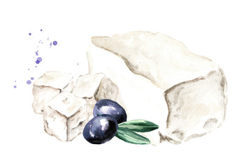 Greek feta cheese block with olive. Watercolor hand drawn illustration, isolated on white background