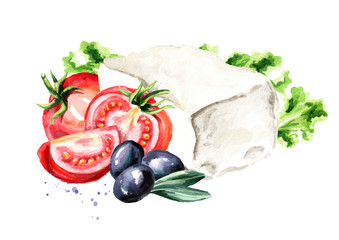 Greek feta cheese block with olives, tomatoes and lettuce. Watercolor hand drawn illustration, isolated on white background
