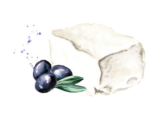 Greek feta cheese block with olives. Watercolor hand drawn illustration, isolated on white background