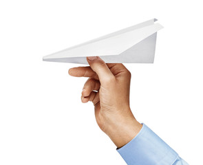 Man's hand in a shirt holding paper plane isolated on white background. Close up. High resolution product