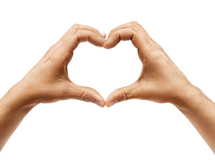 Two hands making heart sign isolated on white background. Close up, high resolution product