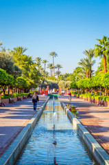 Beautiful park  in old medina  of Marrakesh, Morocco
