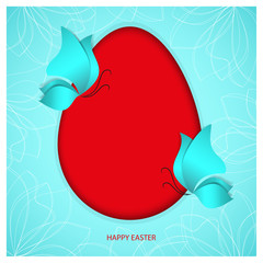 A bright red Easter egg on heavenly sky-blue color background with two blue butterflies and holiday congratulation text Happy Easter. Oval frame with shadow. Paper-cut style 3d vector illustration