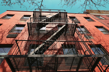 Typical emergency stairs from old building in Greenwich village, New York, USA