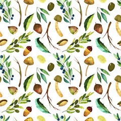 Watercolor forest seamless pattern. Pattern with colorful  branches, mushrooms, leaves, nuts, acorns and olives.  Perfect for you postcard design, invitations, projects, wedding card, poster, packagin