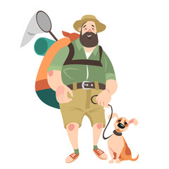 Funny man with a dog travel in search of adventure. Vector illustration on white background.