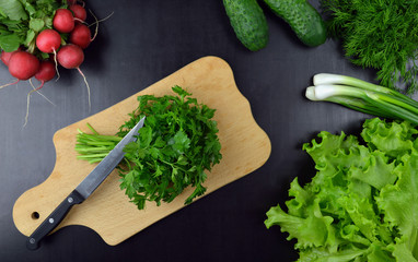 Cooking. Natural Ingredients, Vegetables and Spices. Privileyno meals. Food background. Parsley, coriander. radishes, dill, lettuce, onions, cucumbers.