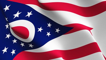 Ohio US State flag waving loop. United States of America Ohio flag blowing on wind.