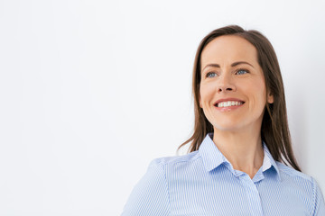 people, portrait and business concept - face of happy smiling middle aged woman or office worker