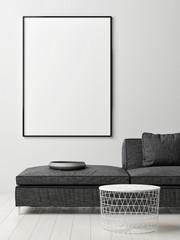 Poster on Wall, Scandinavian color interior design, 3d render, 3d illustration