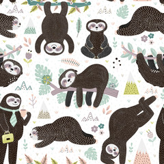 Cute sleeping sloths seamless pattern. Adorable animal background. Vector illustration
