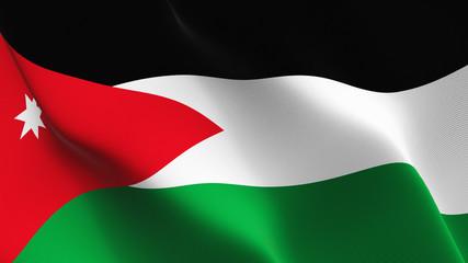 Jordan flag waving loop. Jordanian flag blowing on wind.