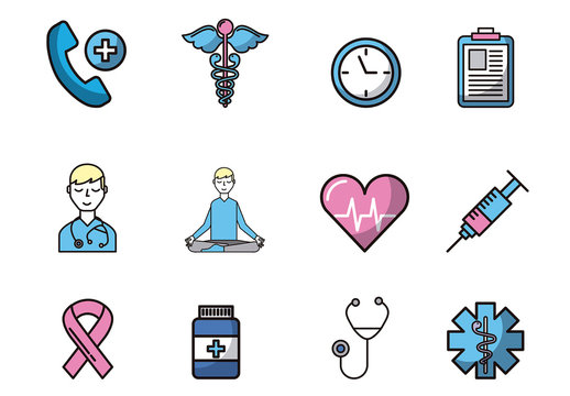 16 Pink and Blue Medical Icons