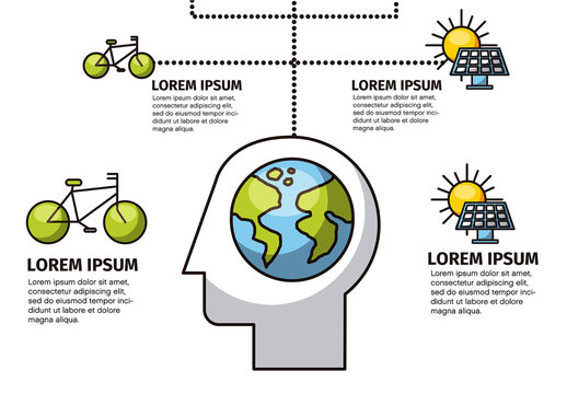 Ecology Infographic with Line Art Illustrations