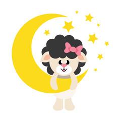 cartoon cute sheep girl black with bow and moon