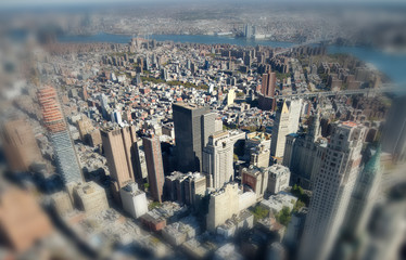 Fototapete - NEW YORK CITY - OCTOBER 23, 2015: Aerial view of Manhattan from city rooftop. New York attracts 50 million people every year