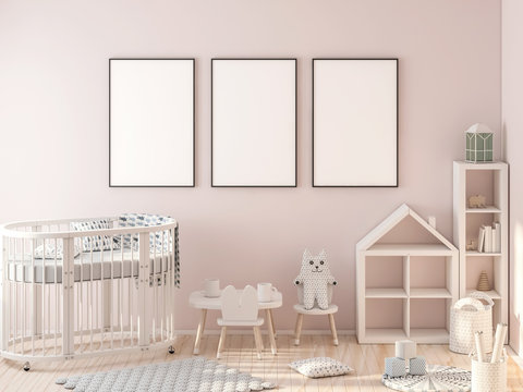 Three poster frame mockup in child room with oval crib 3d rendering