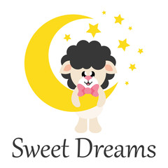 cartoon cute sheep black with tie and moon and text