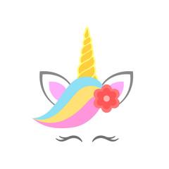 Cute unicorn face with flower. Unicorn head. Vector