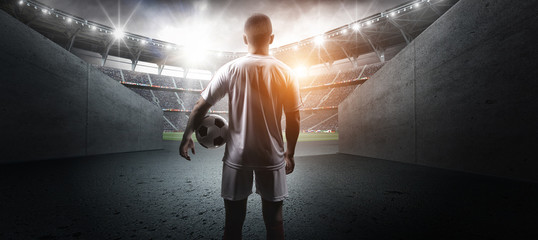 The football player in the stadium
