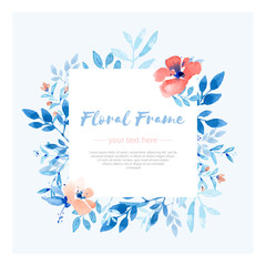Pink and blue floral frame template