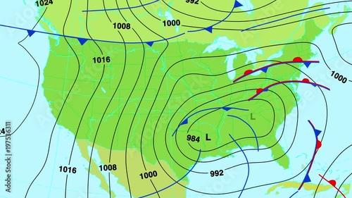 Animated weather forecast map of United States of America ...