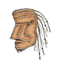 Prehistoric Man Head Drawing
